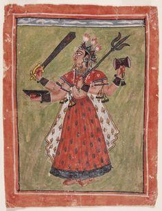 The Hindu Goddess Durga; India, Himachal Pradesh, Basohli; late 17th century; Opaque watercolor and silver on paper (LACMA)
