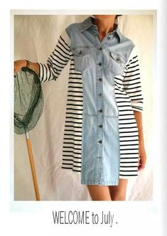 Oct 2019 - Diy clothes refashion summer fabrics ideas for 2019 Altered Couture, Diy Clothing, Sewing Clothes, Redo Clothes, Recycled Clothing, Shirt Dress Tutorials, Diy Vetement, Shirt Refashion, Clothes Refashion