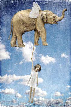 E❤ Elephant by Beth Conklin Elephant Love, Elephant Art, Surealism Art, Arte Pop, Whimsical Art, Surreal Art, Mixed Media Art, Dream Big, Altered Art