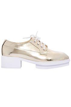 ROMWE | Self-tie Shoelace Platform Gold Shoes, The Latest Street Fashion