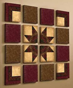 From wildwings.com............................. Housesign Quilt idea. If you do decopage, it can hang outside. I mean : glue a fabric on them, then use decopageglue +lacquer  5-maybe 10 times, let it be proper dry and voila your new housesign. (the whole block need the tour) The housesign idea from me DORTE RASMUSSEN DENMARK :-)