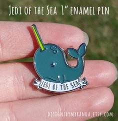 Jedi of the Sea Enamel Pin / narwhal - star wars - 90s - nostalgia / lapel pin - pin game strong - metal clutch - design - illustration / by DesignsbyMyranda on Etsy