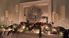 Christmas Mantle ~ fav way to decorate my mantle & it is so simple. <3  Only use fresh live greenery & try and keep it throughout the whole month.