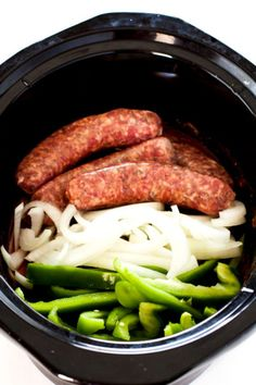 Sausage and Peppers is a classic Italian-American comfort food dish; I've adde… Sausage and Peppers is a classic Italian-American comfort food dish; I've added my own spin on it by cooking it in the slow cooker! Slow Cooker Sausage Recipes, Sausage And Peppers Crockpot, Crockpot Dishes, Crock Pot Slow Cooker, Crock Pot Cooking, Healthy Crockpot Recipes, Pork Recipes, Cooking Recipes, Cooking Time