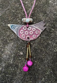 Clay Birdie Necklace by Heidi Soos