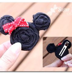 how to make a simple minnie mouse hairbow - - Sugar Bee Crafts: Minnie Outfit, disney, hairclip - How To Make Headbands Bee Crafts, Diy And Crafts, Crafts For Kids, Simple Crafts, Disney Diy, Disney Crafts, Disney Dream, Baby Band, Mono Mini