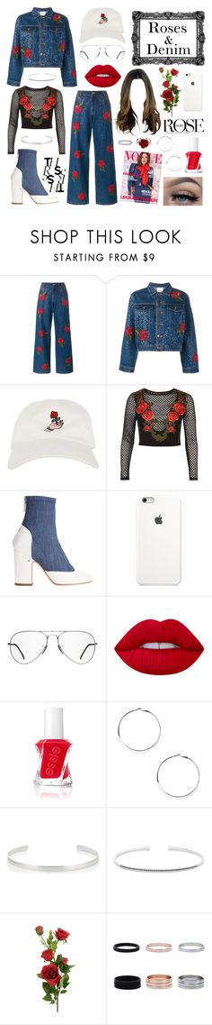 """Style 17 - (Roses & Denim)"" by amber-the-stylist ❤ liked on Polyvore featuring Ashish, River Island, Laurence Dacade, Ray-Ban, Lime Crime, David's Bridal, Essie, Nine West, Jennifer Fisher and Anne Sisteron"
