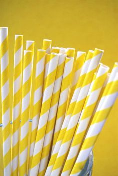 Bright Yellow Striped Paper Straws and PDF by CupcakeSocial, $4.25