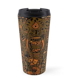 Aztec Elephant with floral Pattern Travel Mugs #mugs #travelmugs #Aztec #Aztecpattern #elephant #thailandelephant #fullcolor #abstract #art #painting #digitalpainting #floral #animals