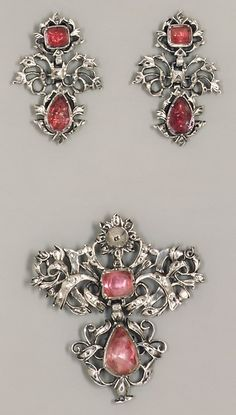 Brooch (part of a set) Date:18th century  Culture:Continental  Medium:Silver, jewels  Dimensions:2-1/4 x 2 in. (5.7 x 5.1 cm)  Classification:Metalwork-Jewelry Credit Line:Gift of Marguerite McBey, 1980