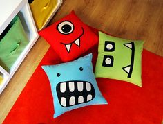 Monster Face cushions - Could make using hand-cut stencils, white & black on coloured material (or use existing cushions), endless variety of faces! Monster Room, Monster Party, Monster Face, Diy Pillows, Cushions, Funny Pillows, Reading Pillow, Reading Nook, Cute Monsters