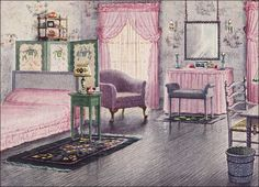 1925 Mauve & Gray Bedroom by Armstrong Cork Co. by American Vintage Home, via Flickr