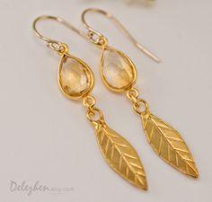 Citrine earrings  Gold Leaf Earrings  Birthstone by delezhen, $52.00
