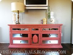 DIY Coral Isle Dresser with mirrors - most beautiful DIY ever, before and after are amazing.
