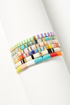Sunshine Stretch Bracelet // Anthropologie -- Love these colorful, flat stacking bracelets. Wear alone or stack them for a fresh look Beaded Necklace, Beaded Bracelets, Stacking Bracelets, Women Jewelry, Fashion Jewelry, Summer Acrylic Nails, Monogram Necklace, Bijoux Diy, Loom Beading