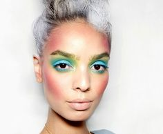 """Bold moves: eye-makeup risks worth taking""... Are they serious?! This is a younger woman, what woman would purposely want white/grey hair? I could not go out of the house with this crazy make up on without people looking at me like I was from Mars."