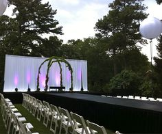 Fashion Show stage, from rentals sponsor @Party Reflections, at the #QueenCitySummerBridalSoiree