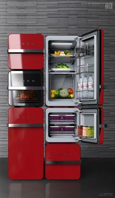 Brick suggests the individual refrigerator which can be combined and made by people's environments and diets. So users can make a individual refrigerator.Each module which has 2 different sizes, perform different roles such as refrigerator, freezer, and… Interior Design Kitchen, Kitchen Decor, Kitchen Storage, Kitchen Gadgets, Kitchen Appliances, Smeg Kitchen, Vintage Appliances, Deco Design, Cuisines Design