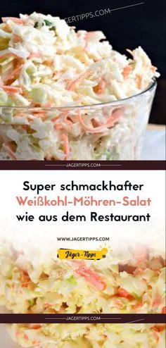 Super tasty cabbage and carrot salad like from the restaurant – L. Super schmackhafter Weißkohl-Möhren-Salat wie aus dem Restaurant Super tasty white cabbage and carrot salad like from the restaurant – Hunter Tips Healthy Dinner Recipes, Healthy Snacks, Healthy Eating, Cooking Recipes, Easy Recipes, Menu Dieta, Vegan Coleslaw, Carrot Salad, Fruit Salad