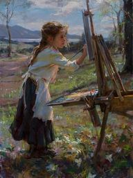 Young Artist Painting a Picture...I'll research who painted this one. Fantastic!