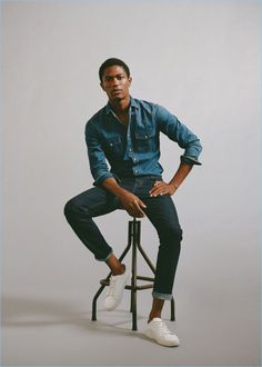 On the heels of an outing with H&M, model Hamid Onifade is back in denim. The top model stars in a style edit for none other than Mango Man. The Spanish