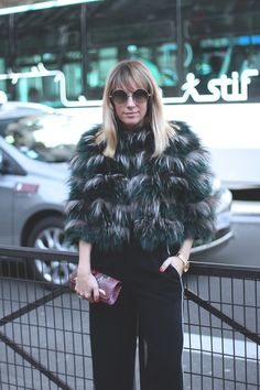 STRIPE SIDE JUMPSUIT   PFW III  Fur coat with black jumpsuit by fashion blogger