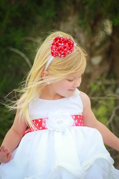 BRIGITTE Floral Sash - Flower Girl Red & White Polka Dot.