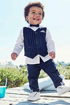24451ce8a6199 Ensemble bébé garçon cérémonie gilet + chemise + noeud papillon + pantalon  bleu royal raye - Vertbaudet