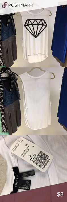 Forever 21 Diamond Muscle Tee Has a bit of a high low going on. Cute and new! Forever 21 Tops Muscle Tees