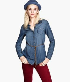Denim Shirt $15 $24.95 DESCRIPTION Long, fitted shirt in soft, washed denim with a narrow imitation suede tie belt. Metal buttons, one chest pocket with button, and gently rounded hem with small slits at sides. ONLINE EXCLUSIVE. DETAILS 100% cotton. Machine wash warm Imported Art.No. 67-9537