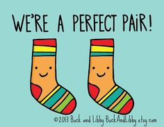 We're a Perfect Pair Frameable Illustration Print by Buck and Libby