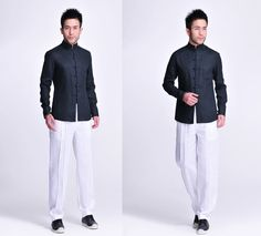 Flawless Onyx /  Chinese Style Linen Men's Shirt with Handmade Buttons/ 8 Colors