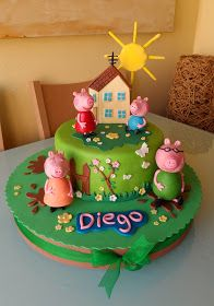 Tortas Peppa Pig, Bolo Da Peppa Pig, Peppa Pig Birthday Cake, Birthday Cake Girls, Tarta George Pig, Peppa Pig Family, Pastel Cakes, Jungle Cake, Homemade Birthday Cakes