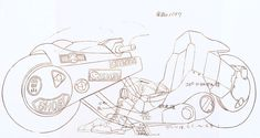 Akira (1988) / Traceline Test Cels x 2 / 250mm x 420mm Study of Kaneda's powerbike, inclusive of animation notes for colourists.