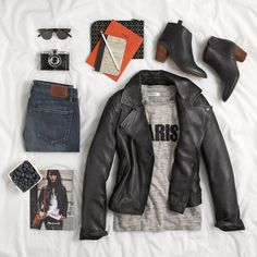 a great black leather moto jacket never goes out of style...
