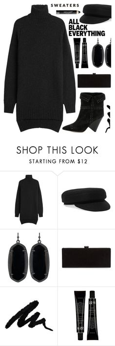 """Monochrome: All Black Everything"" by tinkabella222 ❤ liked on Polyvore featuring Isabel Marant, Kendra Scott, Edie Parker, Wet n Wild and allblack"