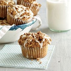Apple Streusel Muffins with Maple Drizzle | | Cooking Light #myplate #wholegrain #dairy