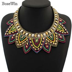 Multicolor Jelly  Beads Lotus Flower Statement Choker Collar Necklaces Fashion Punk Jewelry CE1357-in Choker Necklaces from Jewelry on Aliexpress.com | Alibaba Group