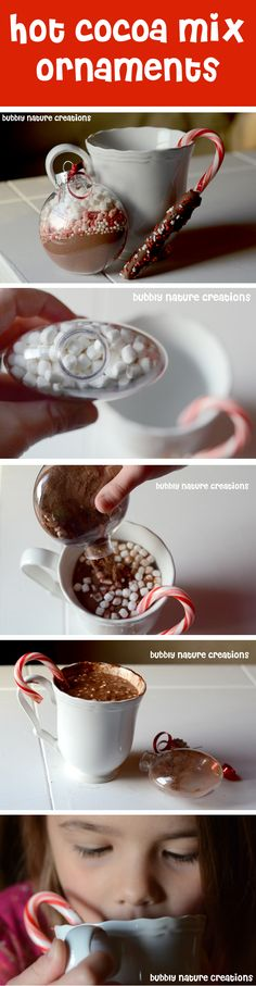 Hot Cocoa Mix Ornaments! only use a spoon covered in chocolate rather than the candy cane