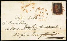 """Great Britain 1840 1d black. Great Britain. 1840 One Penny Black. Plate Ib. HH large to very large margins all round, tied by red Maltese Cross cancellation to entire letter, dated 30 Dec. 1840, from Dublin to Bury St. Edmunds, re-directed to Thetford, red Newmarket (31.12) d.s. and """"bury/1/paid"""" on the front, Bury St. Edmunds (2.1.1841) on reverse; clean horizontal filing fold at foot, fine and an exceptionally rare combination of a Penny Black with a Uniform Penny Postage marking."""