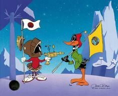Duck Dodgers in the 24th and 1/2 century! Facing off with Marvin the Martian. (Chuck Jones)