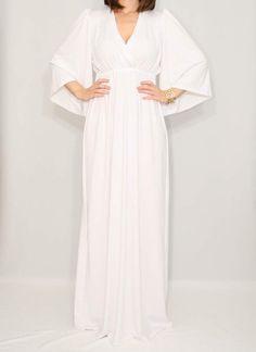 White Maxi dress Kimono dress Maternity Dress von KSclothing, $45.00