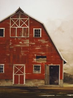 Indian Red by Joseph Alleman Watercolor Red Barn Painting, Barn Pictures, Art Watercolor, Country Barns, Farm Art, Red Barns, Old Farm, Old Buildings, Rustic Barn