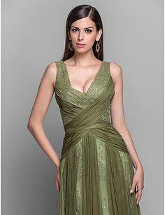 A-line/Princess V-neck Floor-length Chiffon Grace Evening Dress – CAD $ 222.39