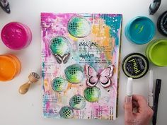 EASY Mixed Media JOURNAL page #12 using Dylusions + Visible Image Stamps - YouTube