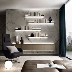 Wall suspended Self units in palladio matt lacquered glass by Rimadesio
