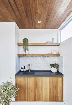 Photo 1 of 999 in Best Kitchen Undermount Photos from An Australian Garden Studio Opens Up to the Outdoors With Sliding Glass Walls - Dwell Home Studio Desk, Studio Kitchen, Shelley Craft, Wash Basin Cabinet, Washbasin Design, Australian Garden, Studio Lighting, Trendy Home, Wood Cabinets