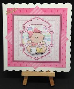 baby girl first birthday card with decoupage on Craftsuprint designed by Angela Wake - made by Bettina Jensen -