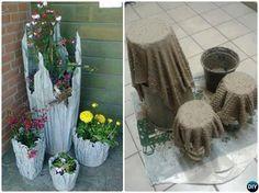 DIY Cement Draped Hypertufa Planter-Concrete Planter DIY Ideas Projects
