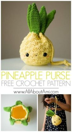 Amigurumi Pineapple Purse to hold your essentials! Free pattern & tutorial available! Amigurumi Pineapple Purse to hold your essentials! Free pattern & tutorial available! Crochet this sweet and cute pineapple purse to help hold your essentials using the Crochet Gratis, Crochet Patterns Amigurumi, Cute Crochet, Crochet For Kids, Knitting Patterns, Crotchet, Embroidery Patterns, Knitting Yarn, Sewing Patterns